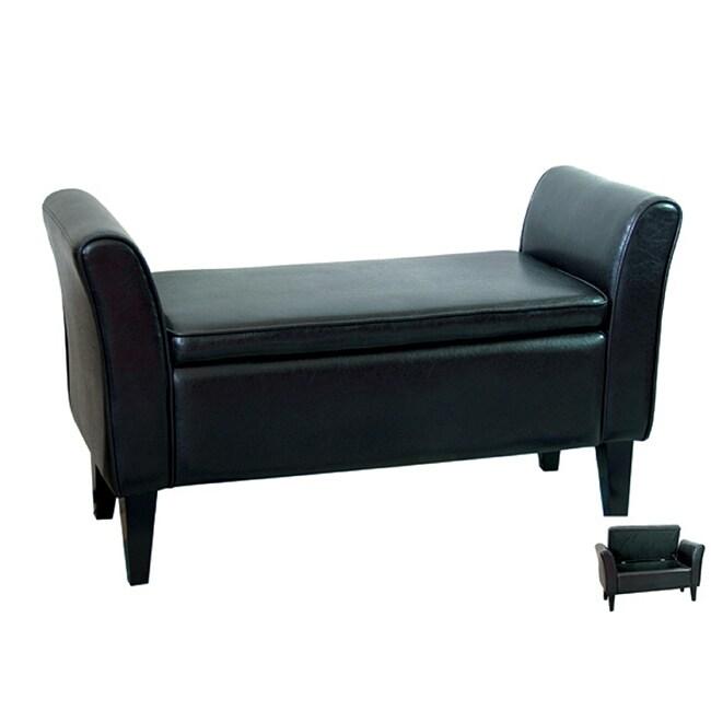 Bi-cast Leather Black Storage Bench