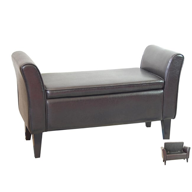 Bi-cast Leather Dark Espresso Storage Bench