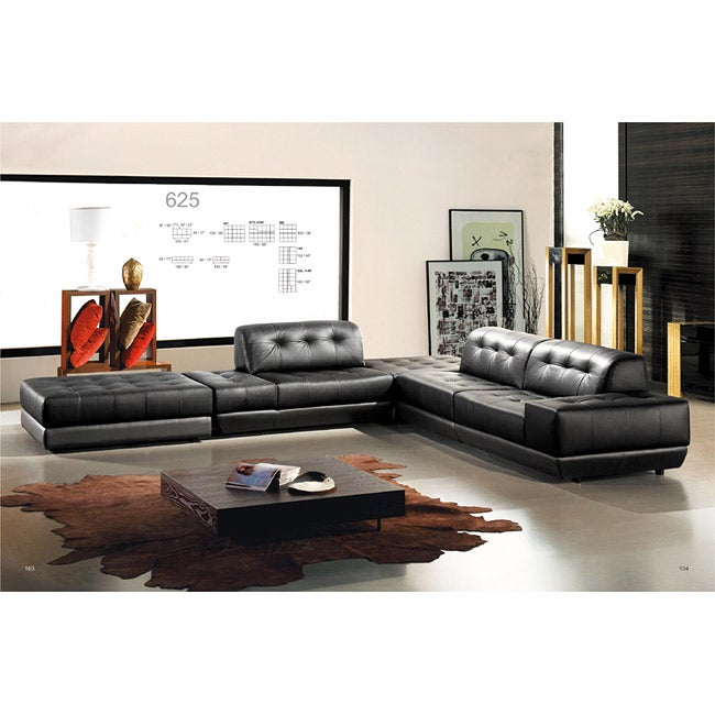 Quincy Black Leather 5 Piece Sectional Sofa Free