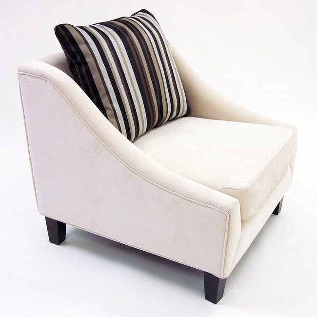 Retro-Modern Cream Fabric Chair