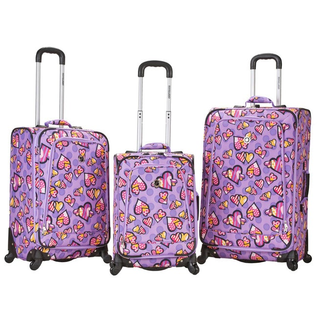 Rockland Deluxe 3-piece Love Hearts Spinner Luggage Set