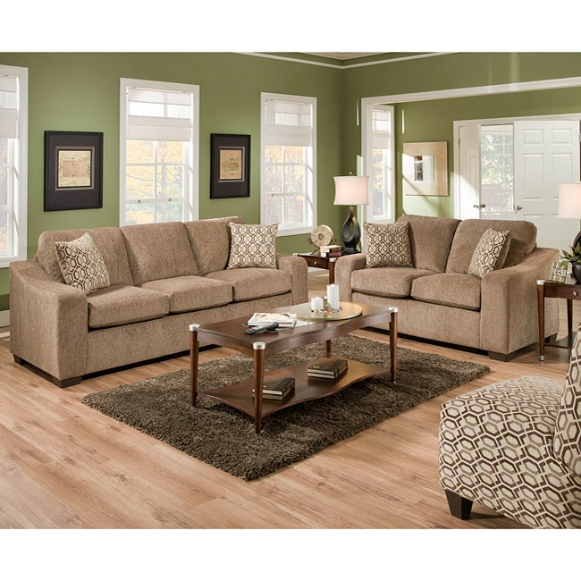 Texaco Beige Chenille Sofa And Loveseat