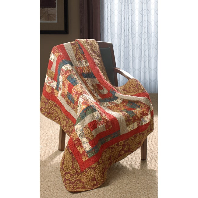 Greenland Home Fashions Log Cabin 100-percent Cotton Quilted Throw