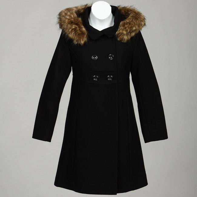 Rothschild Big Girl's Wool-blend Faux Fur Trim Hooded Coat