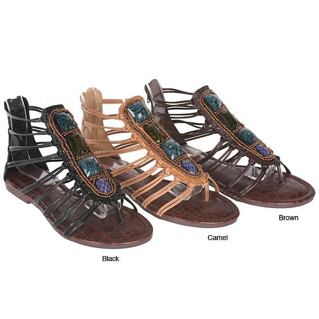 Sweet Beauty 'Rome-01' Women's Jeweled Gladiator Sandals