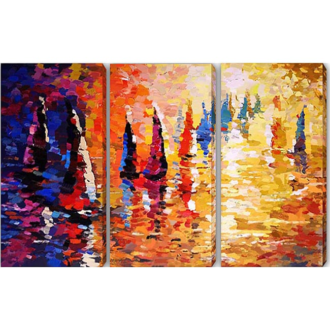 Abstract 'Boat' Canvas Art (Set of 3)