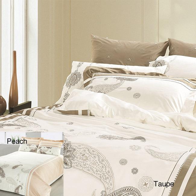 Castleton Paisley Embroidered Queen-size 3-piece Duvet Cover Set