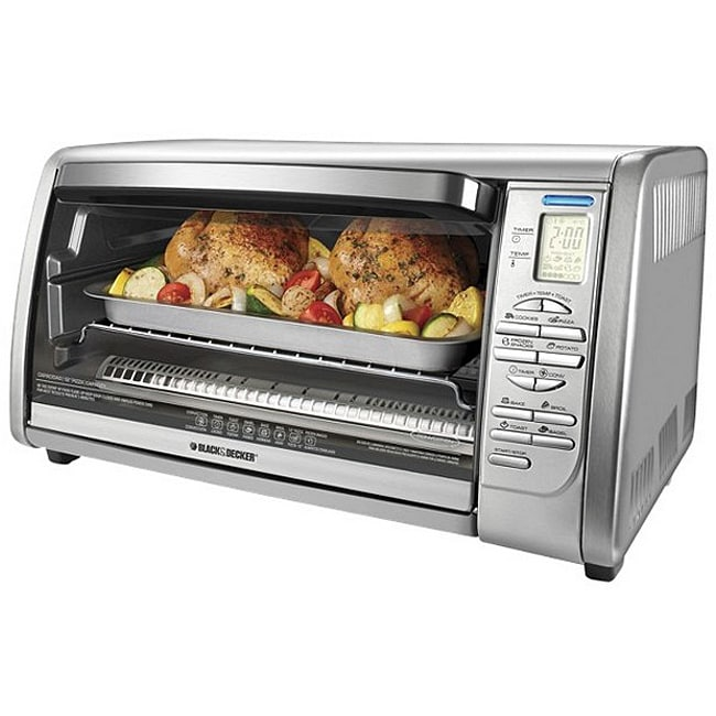 Black Amp Decker 6 Slice Stainless Steel Convection Oven