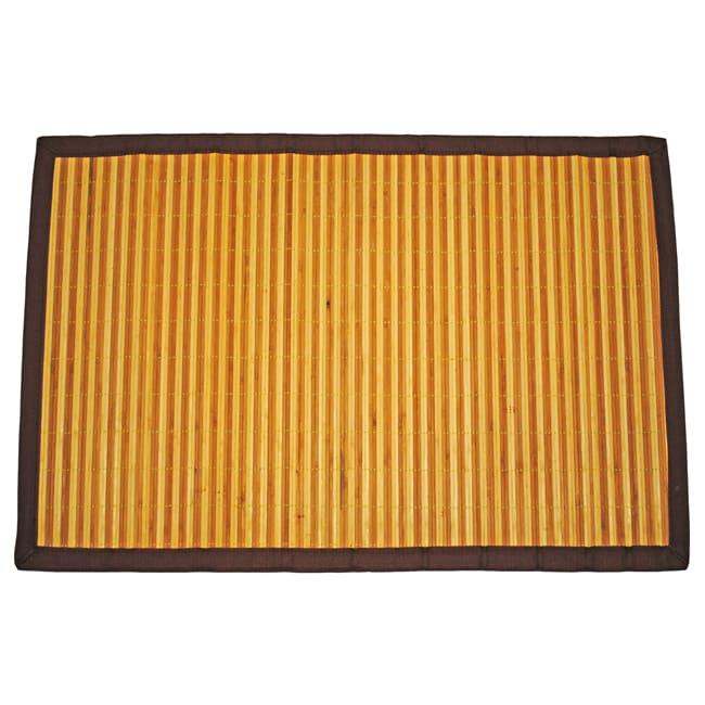 Asian Hand-woven Dark/ Light Stripe Bamboo Rug (2' x 3')