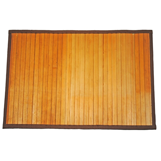 Asian Hand-woven Natural Stripe Bamboo Rug (1'8 x 2'7)