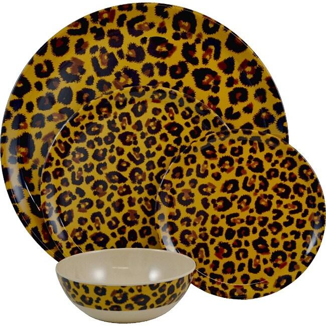 Tango Leopard 13-piece Melamine Dinnerware Set