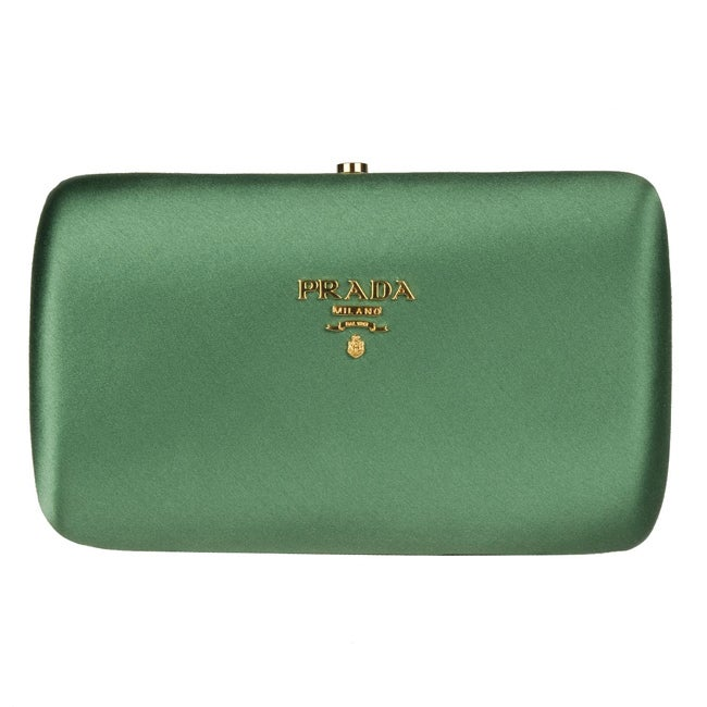 Prada Green Satin Box Clutch