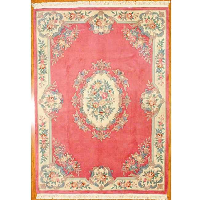 Shop Indo Hand Knotted Pink Ivory Auboussan Wool Rug 8