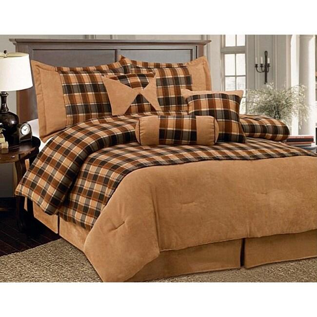 Plaid 7-piece Fleece/ Microsuede Comforter Set