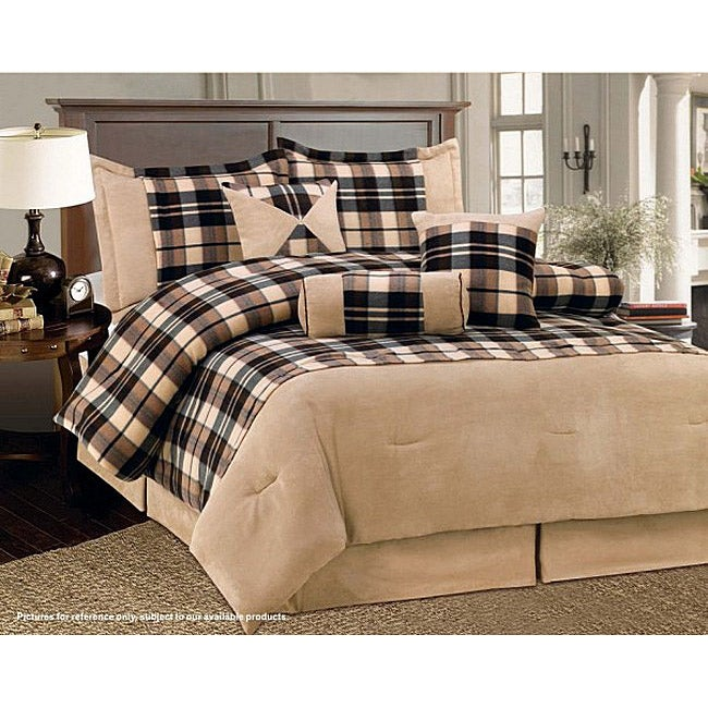 Beige Plaid 7-piece Comforter Set