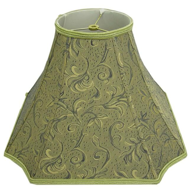 Square-Cut Corner Green Silk Embroidered Lamp Shade