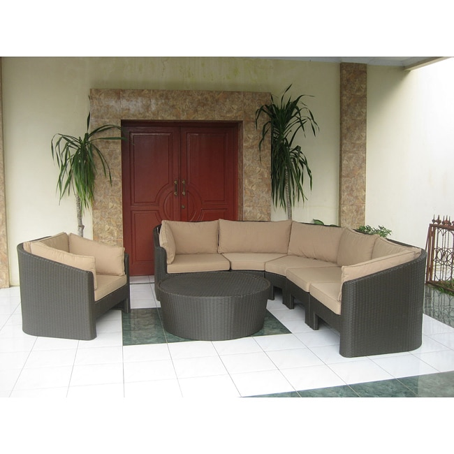 Andes All-weather Resin Wicker Sectional Set with Sunbrella