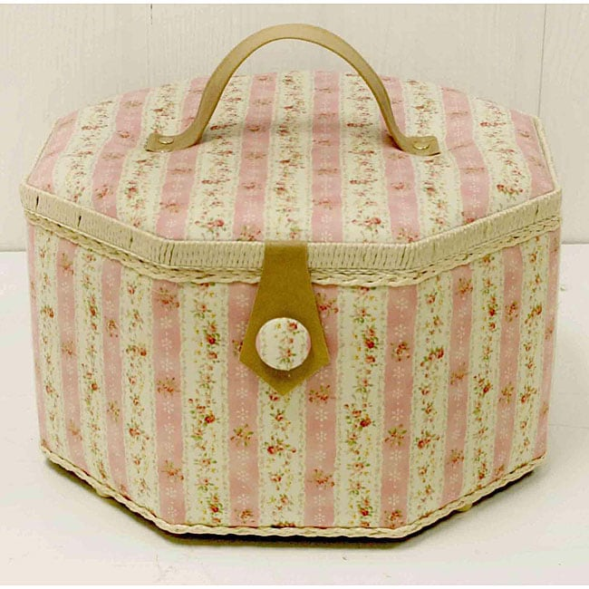 Suzy's Vintage Floral Large Octagonal Hobby and Sewing Box