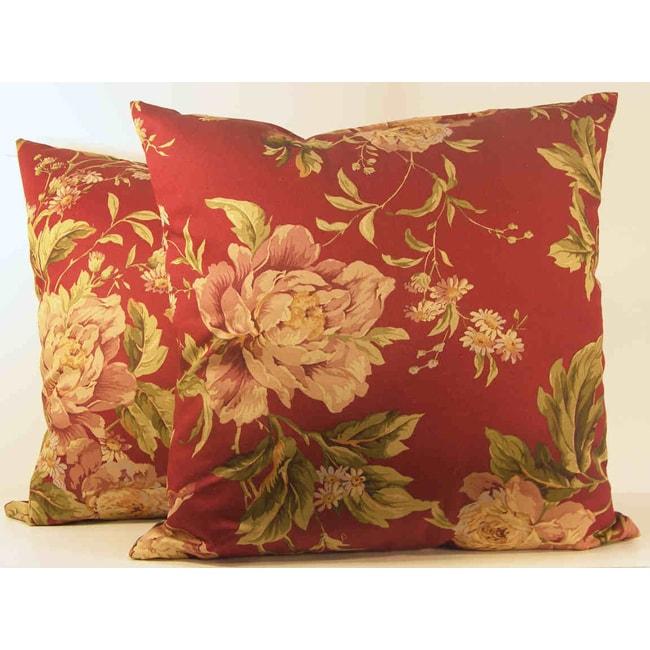 Merlot Floral Throw Pillows (Set of 2)