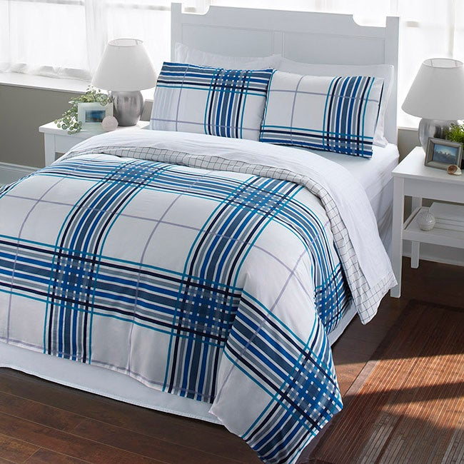 Blue Plaid 2-piece Twin-size Duvet Cover Set