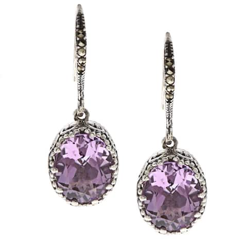 MARC Sterling Silver Amethyst and Marcasite Stud Earrings