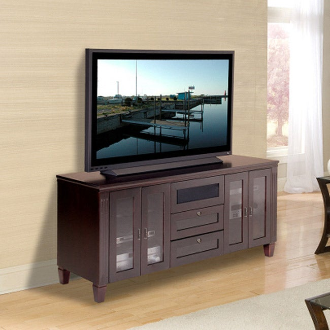 Transitional 70-inch Wenge Finish TV and Entertainment Console
