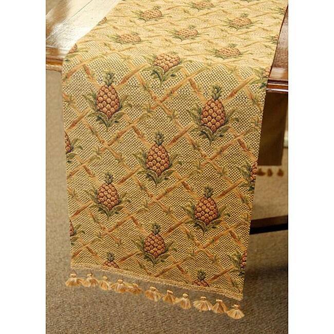 Corona Decor Pineapple Tapestry Italian Table Runner, Gol...