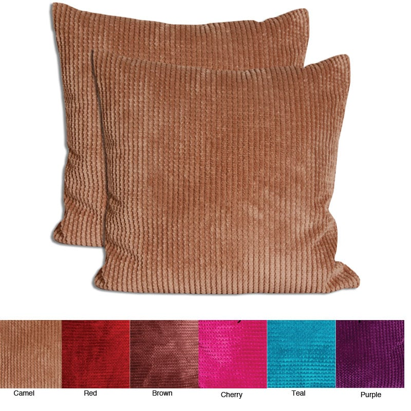 Velvet Corduroy 26x26 Decorative Pillows (Set of 2)