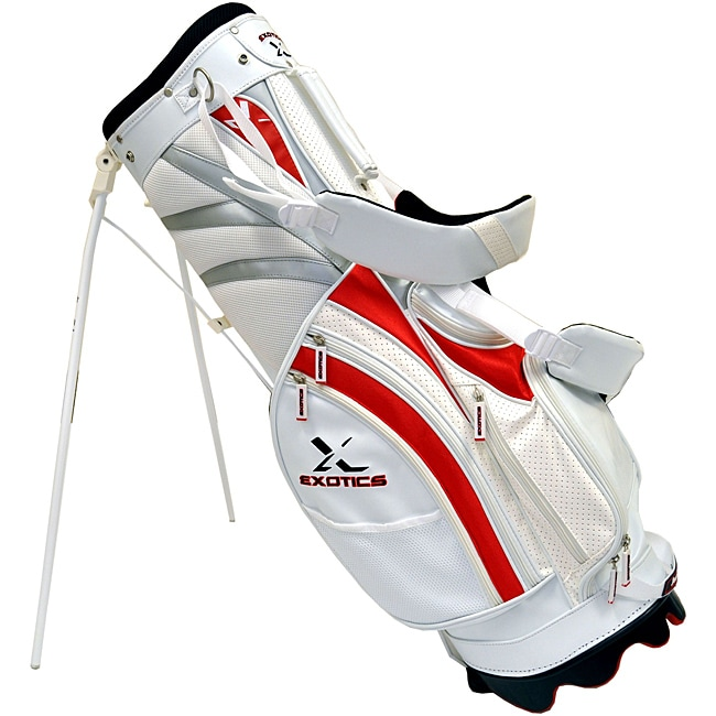 Tour Edge Exotics Deluxe White Smooth Leather Stand Bag