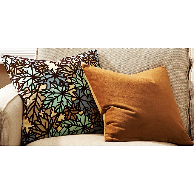 Pressed Leaf and Solid Tan Decorative Pillows (Set of 2)
