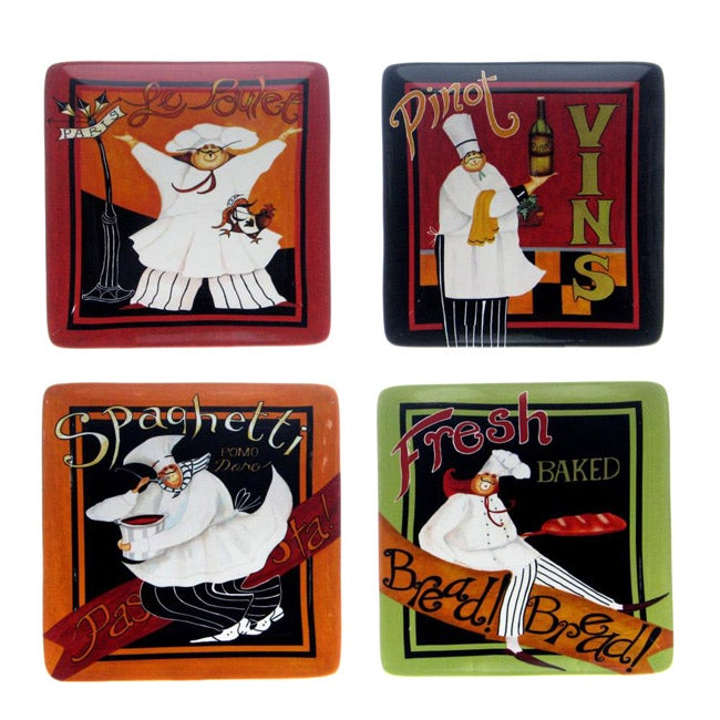 Certified International International Chefs 10.5-inch Square Dinner Plates (Set of 4)