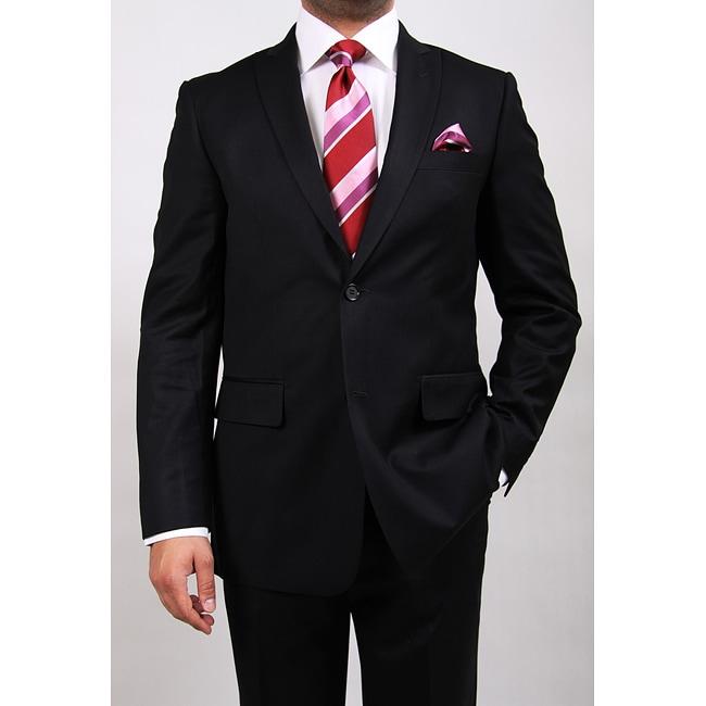 Ferrecci Men's Two-button Black Peak Lapel Suit