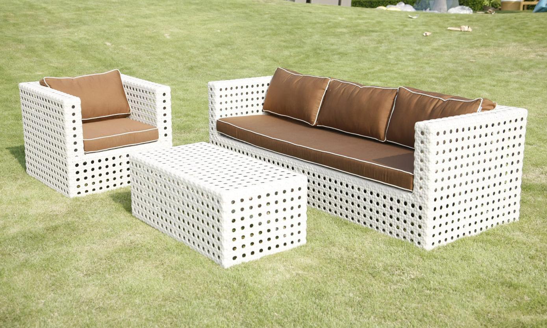 All-Weather White 3-piece Wicker Patio Furniture Set
