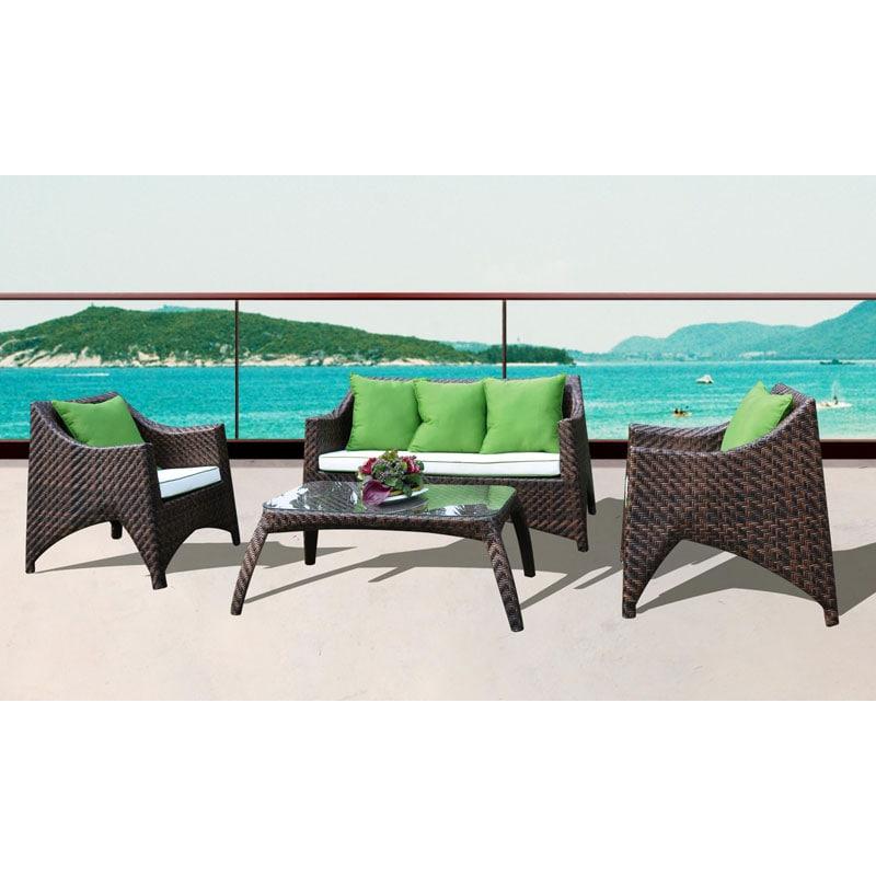 Ocala All-Weather 4-piece Espresso Wicker Patio Furniture Set