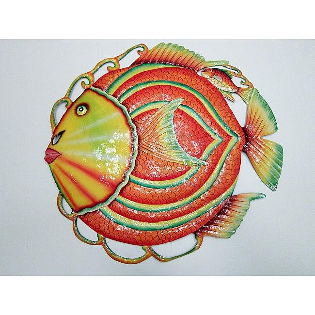 Recycled Steel Drum Multicolored Fish Wall Art (Haiti)