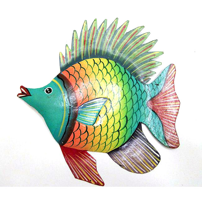 Recycled Steel Drum Multicolored Fish Wall Art (Haiti)