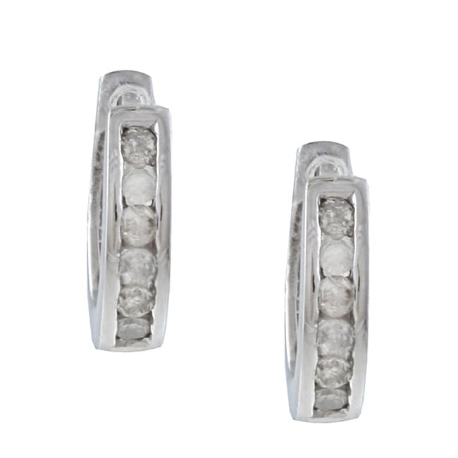 10k White Gold 1/4ct TDW Diamond Hoop Earrings (G-H, I1-I2)