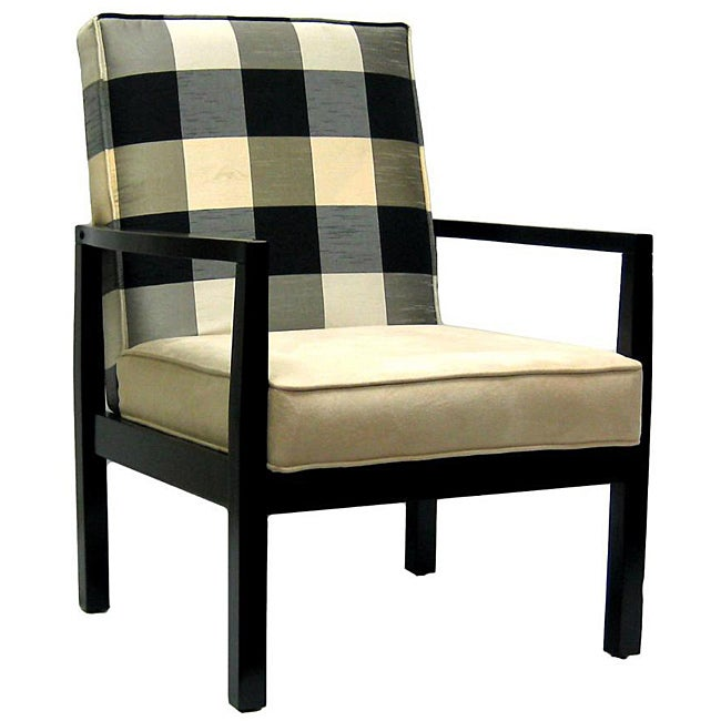 Black And Ivory Polka Plaid Accent Chair Free Shipping