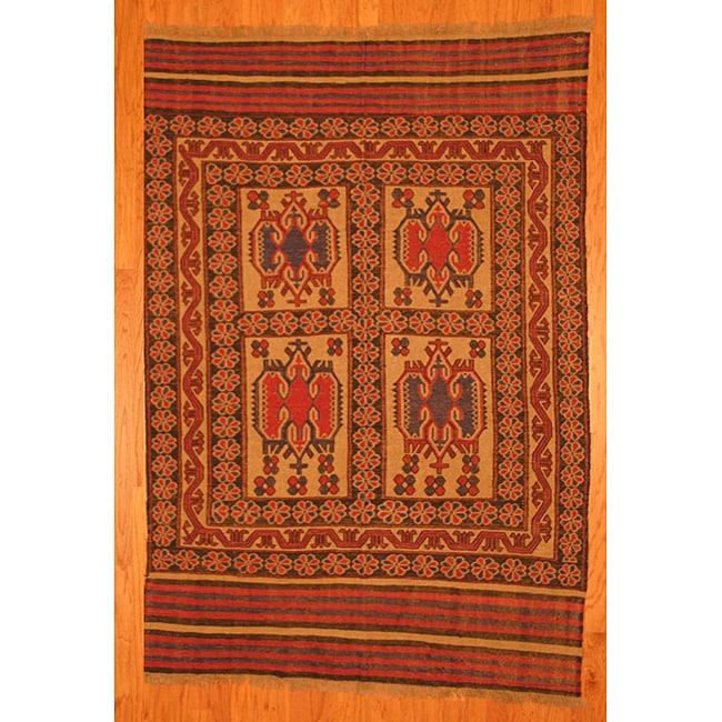 Afghani Hand-woven Beige/ Rust Tribal Soumak Kilim Wool Rug (5'8 x 8'4)