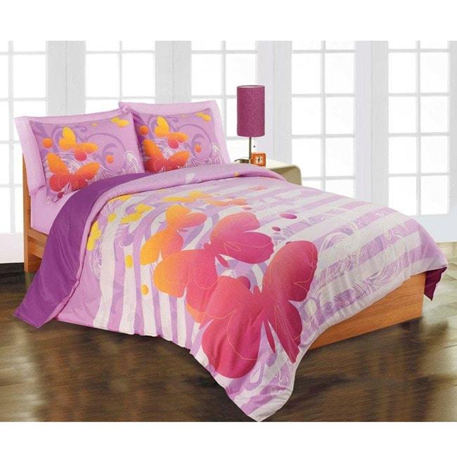 Butterfly 3 Piece Full Queen Size Microfiber Comforter
