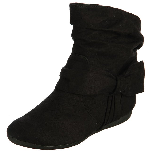 Rampage Women's 'Brie' Black Bow Ankle Boots - Free Shipping On ...
