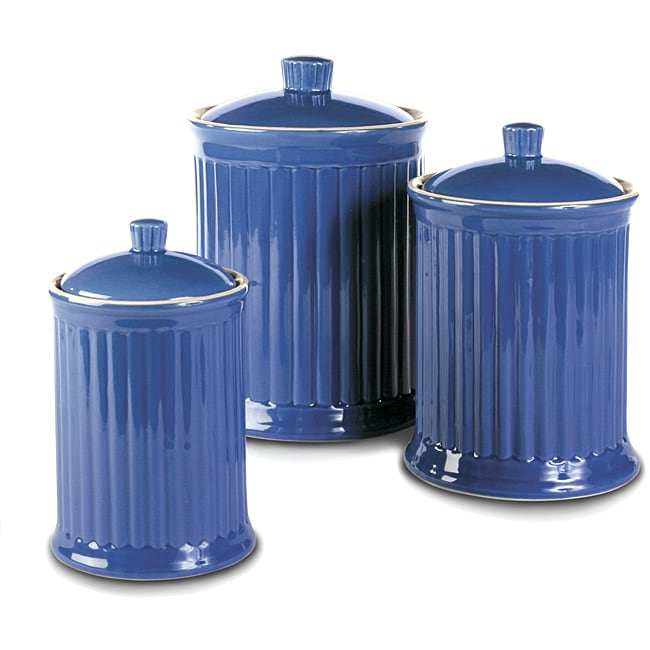 Simsbury Blue Ceramic Canisters (Set of 3)
