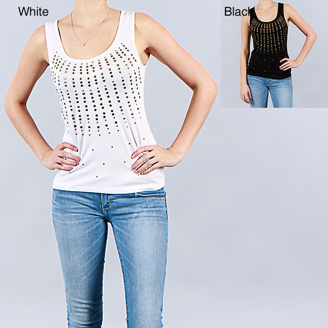 Metric Designer Goldtone Stud Embellished Tank Top