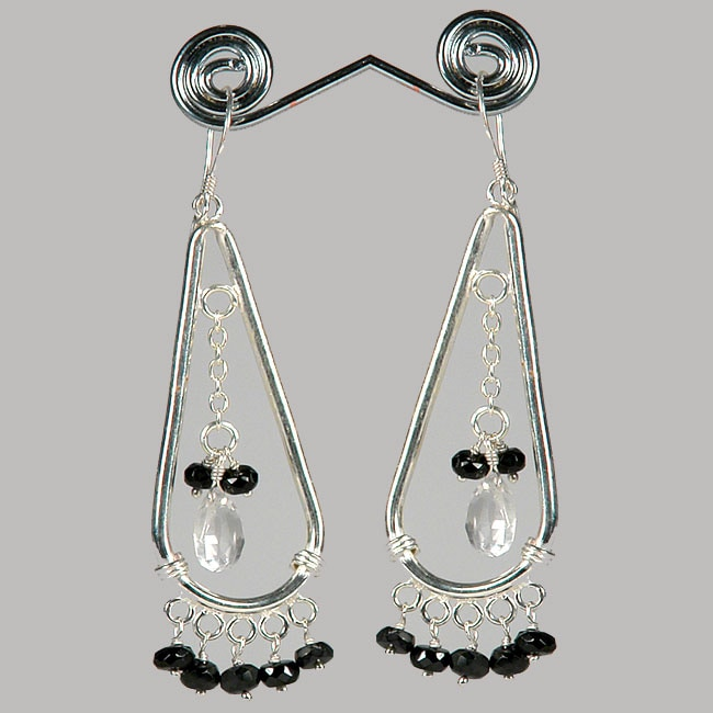 Sterling Silver Onyx and Crystal Dangle Earrings (India)