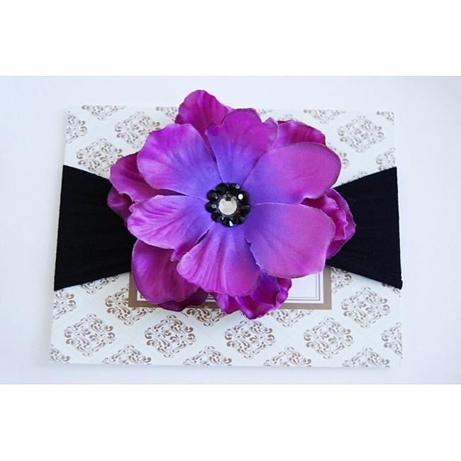 Purple and Black Designer Flower Headband