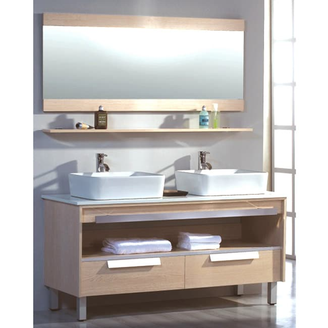 Ceramic Top 55.5-inch Double Sink Bathroom Vanity