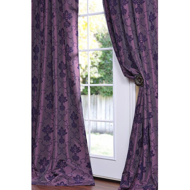 Exclusive Fabrics Flocked Fiori Dahlia Faux Silk 84-inch Curtain Panel