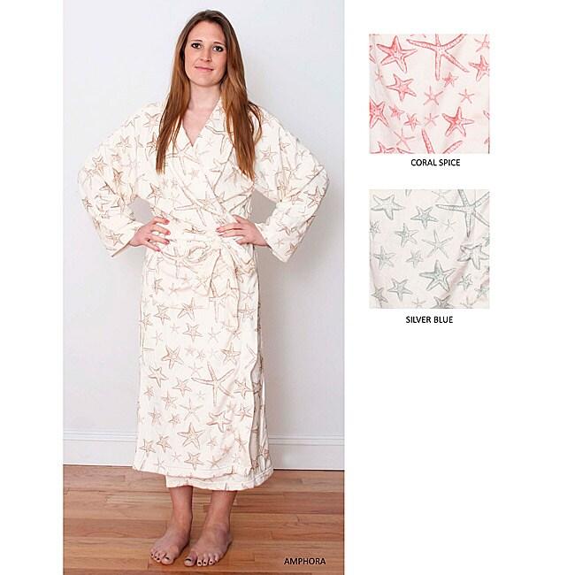 Starfish Print Microplush Long Robe