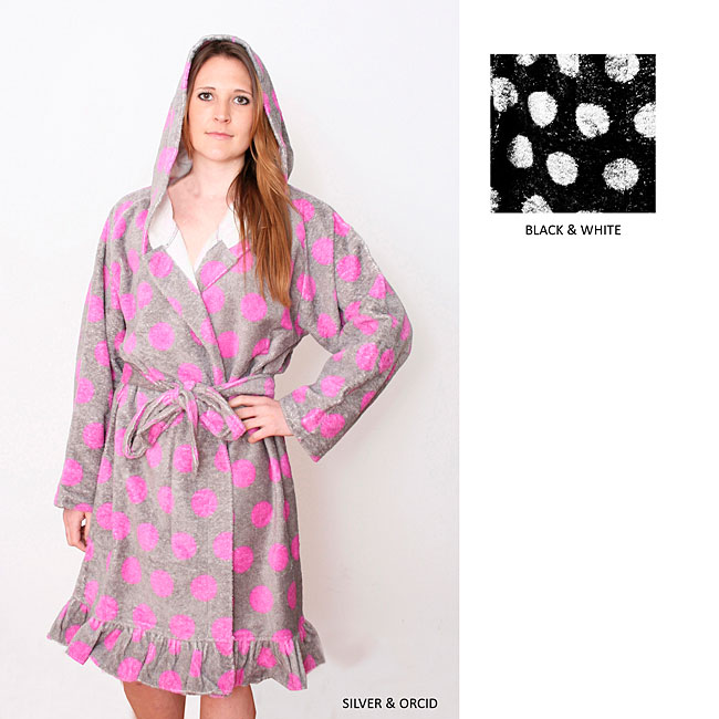 Microterry Mod Dots Hooded Bath Robe
