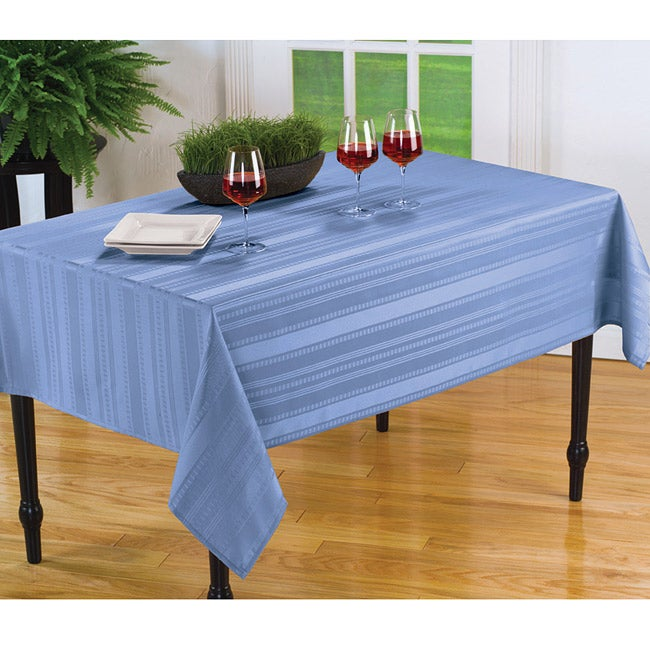 Divine Stripe Spill Proof Light Blue 60x84 Inch Oblong Tablecloth Free Shipping On Orders Over 45 6077910